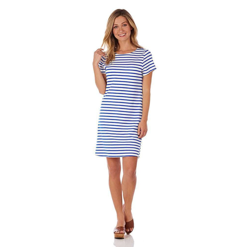 Country Club Prep White and Cobalt Stripe / XS