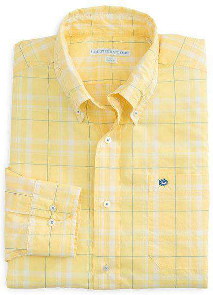 Windsail Plaid Classic Fit Sport Shirt in Sunshine Yellow by Southern Tide  - 1