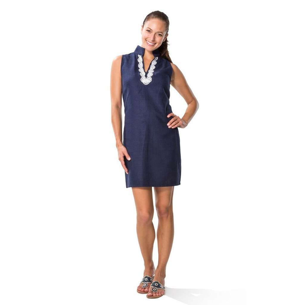 Shift Dress with Lace Shell in Navy by Sail to Sable