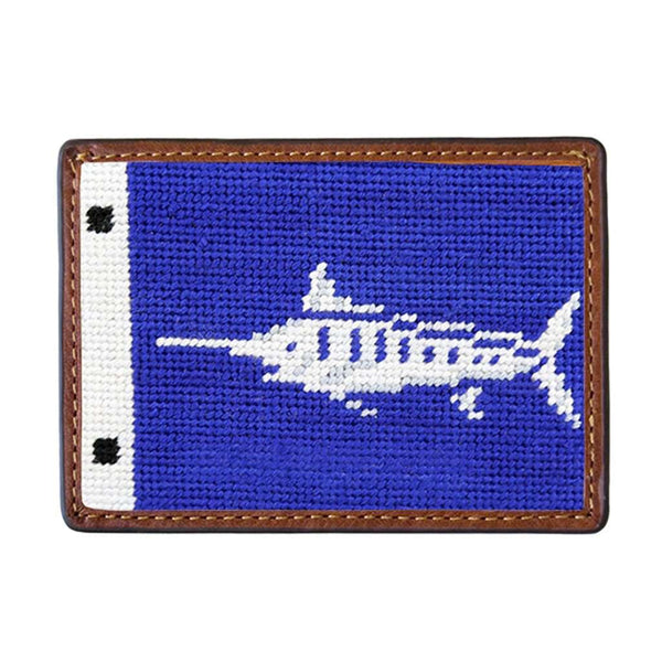Marlin Sportfishing Flag Needlepoint Credit Card Wallet by Smathers & Branson