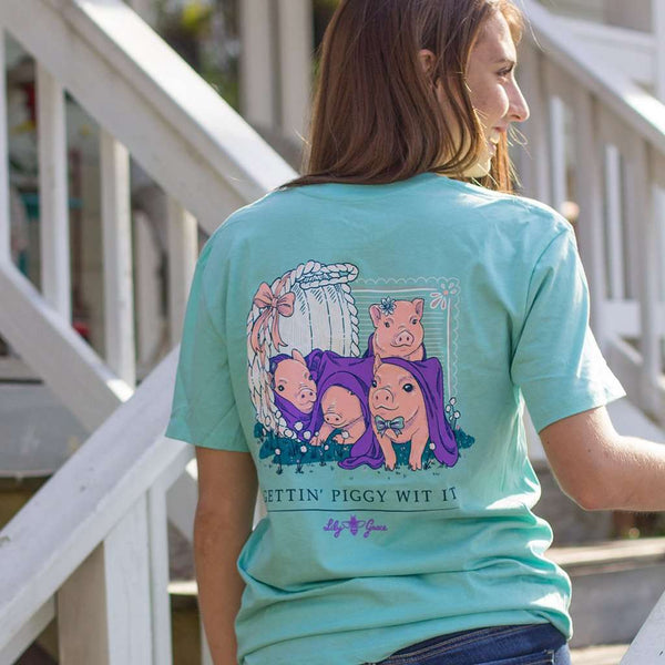 Getting Piggy With It Tee in Chalky Mint by Lily Grace