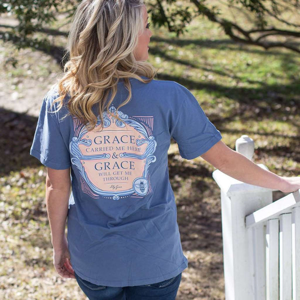 Grace Carried Me Here Tee in Navy by Lily Grace
