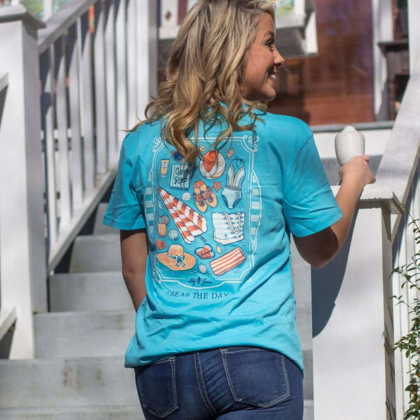 Seas the Day Beach Supplies Tee in Tide by Lily Grace