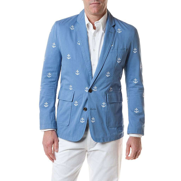 Spinnaker Blazer With Embroidered White Anchor in Storm by Castaway Clothing