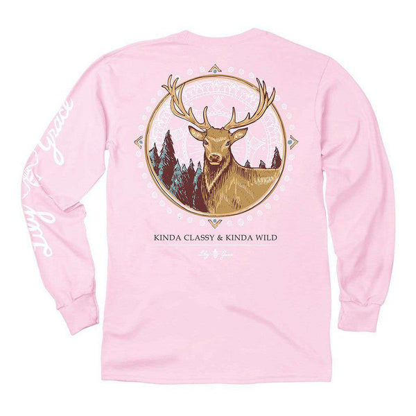 Lily Grace Deer Long Sleeve Tee in Blossom