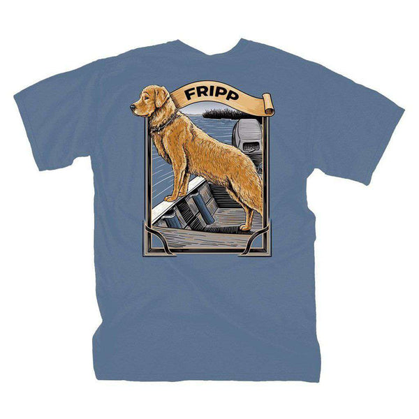 fripp outdoors dog on joat boat t shirt in marine blue