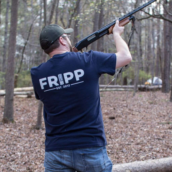 Fripp Logo Shotgun Shells T-Shirt in Navy by Fripp Outdoors