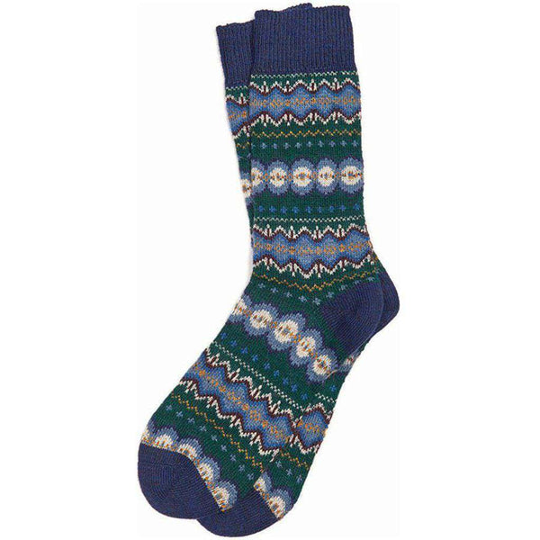 Caistown Fairisle Socks in Bottle Green by Barbour
