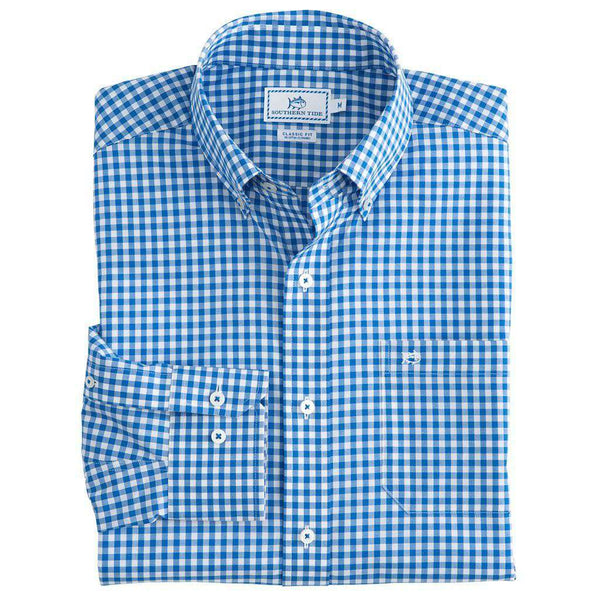 Southern Tide Classic Gingham Sport Shirt in Cobalt Blue
