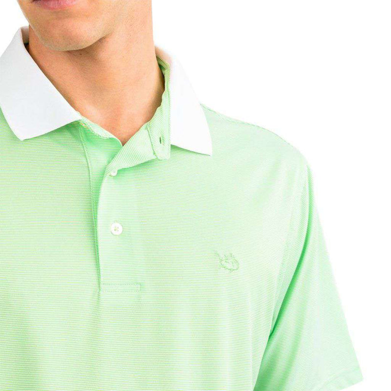 Carlisle Bay Stripe Performance Polo in Summer Green by Southern Tide - FINAL SALE