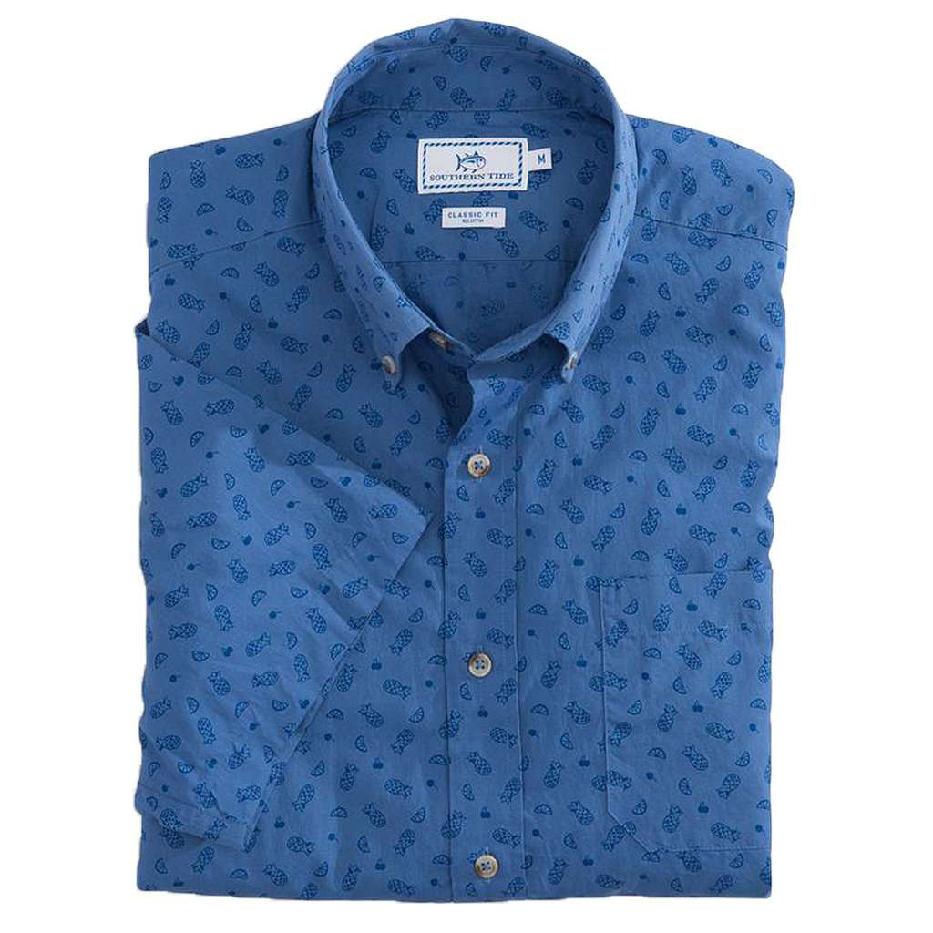 Island Vibes Print Short Sleeve Sport Shirt in Dutch Blue by Southern Tide