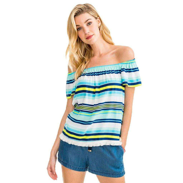 Southern Tide Beatrix Stripe Off the Shoulder Top in Offshore Green