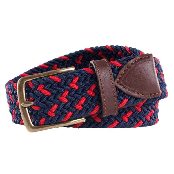 Southern Tide Braided Elastic Specked Web Belt in True Navy