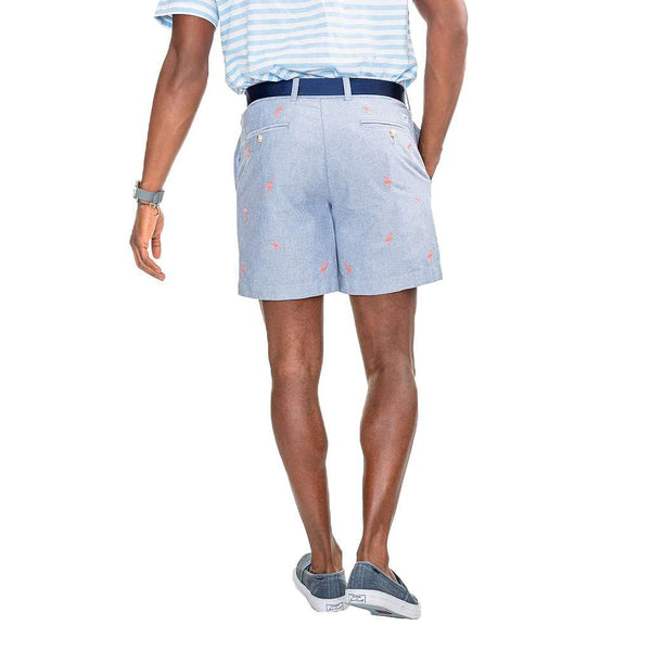 Flamingo Embroidered Oxford Short in Seven Seas Blue by Southern Tide - FINAL SALE