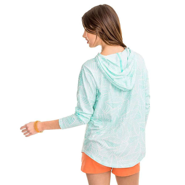 Palm Print Skipper Hoodie in Offshore Green by Southern Tide