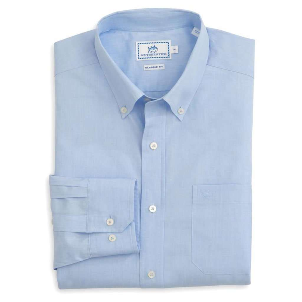 Southern tide sullivan 39 s solid sport shirt in sail blue for Southern marsh dress shirts on sale