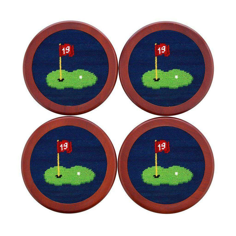 19th Hole Needlepoint Coasters in Classic Navy by Smathers & Branson