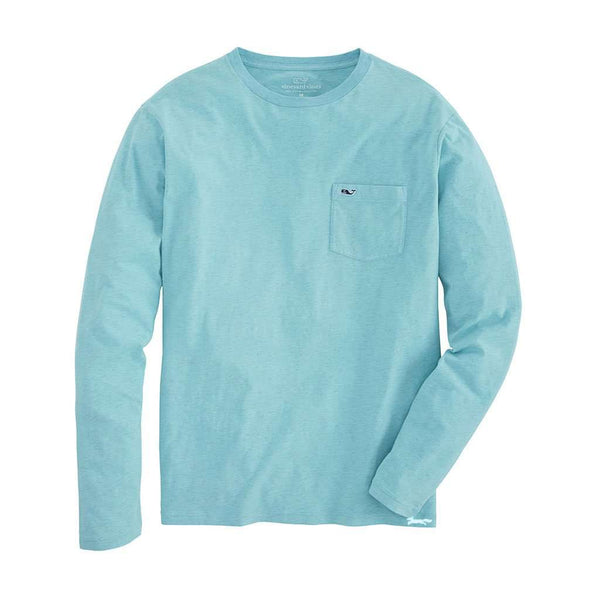 Vineyard Vines Long Sleeve Overdyed Heathered T-Shirt in Capri Blue