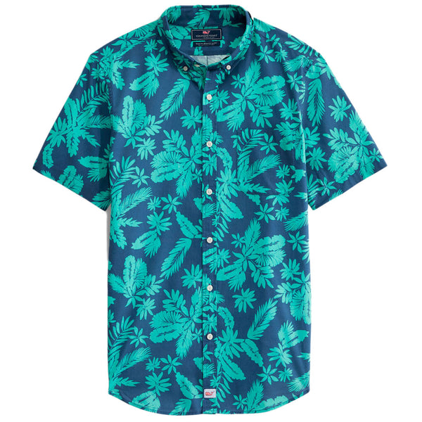 Tropical Leaves Gilded Short Sleeve Slim Murray Shirt by Vineyard Vines