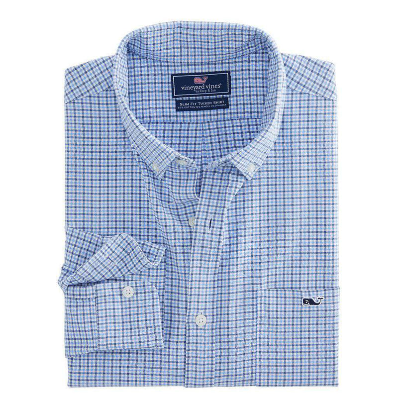 Vineyard Vines Belle Haven Plaid Slim Tucker Shirt in Moonshine