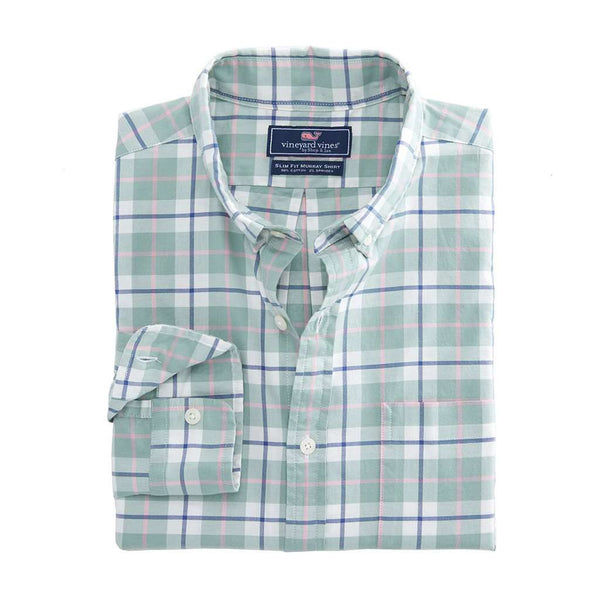 Vineyard Vines Riverbank Plaid Slim Murray Shirt in Desert Green