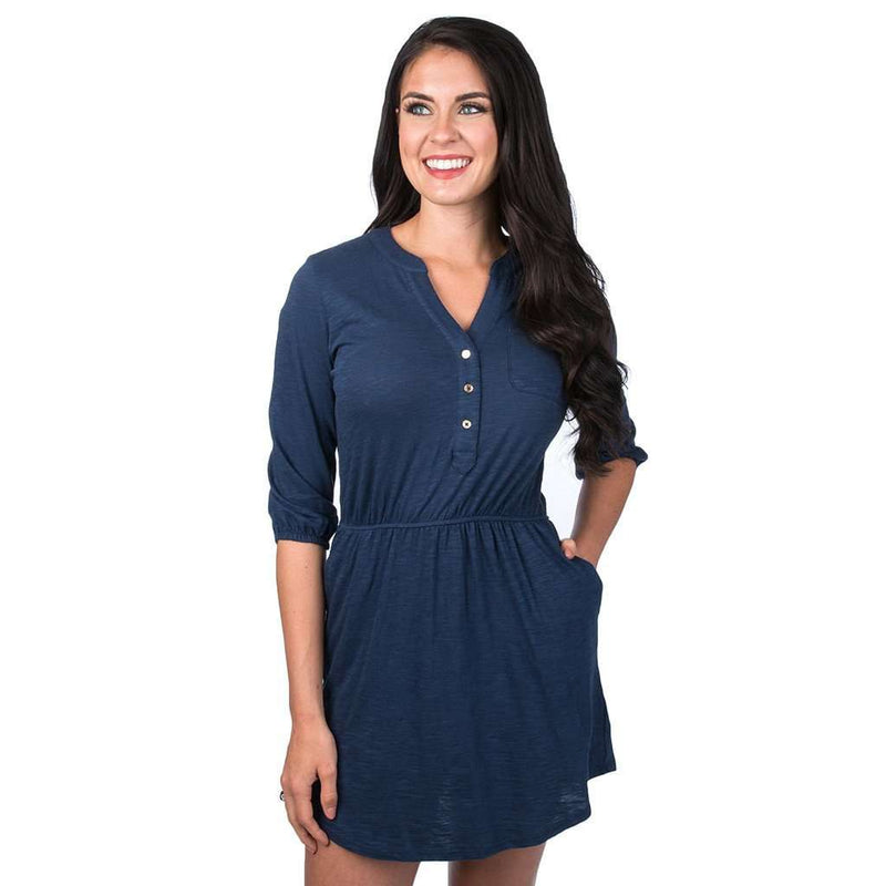 Lauren James Virginia Slub Dress in Navy