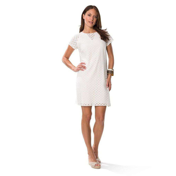Eyelet Shift Dress in White by Sail to Sable  - 1