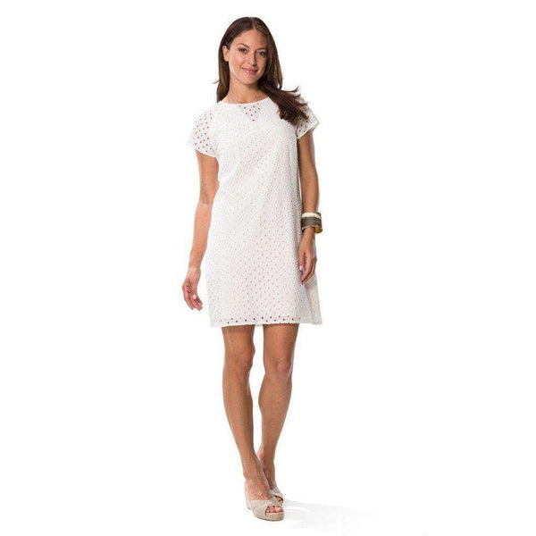 Eyelet Shift Dress in White by Sail to Sable  - 2