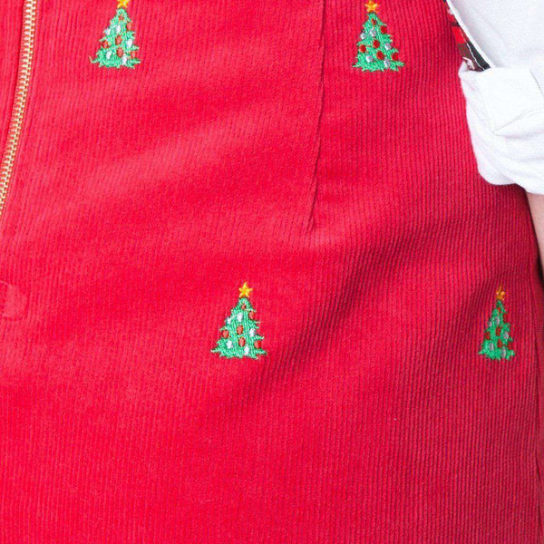 Castaway Clothing Ali Corduroy Skirt with Embroidered Christmas Trees by Castaway Clothing