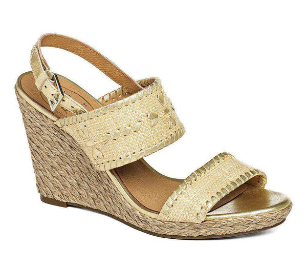 Vanessa Raffia Wedge in Gold by Jack Rogers