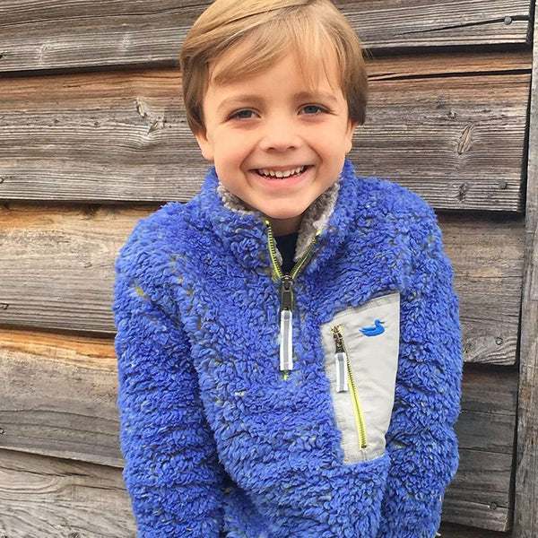 Youth Piedmont Range Sherpa Pullover in French Blue and Mustard by Southern Marsh - FINAL SALE