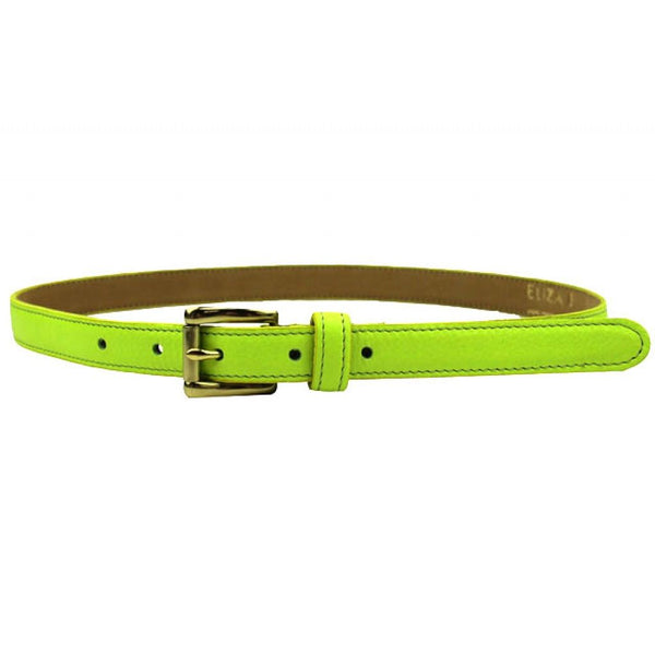 Leather Skinny Belt in Neon Green by Eliza B
