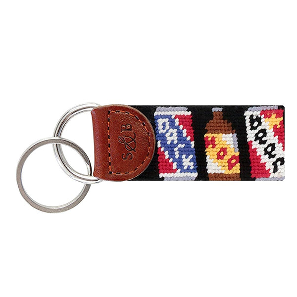 Beer Cans Needlepoint Key Fob in Black by Smathers & Branson