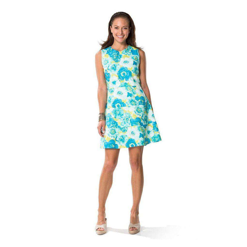 Flower Basketweave Flirty Dress in Blue by Sail to Sable