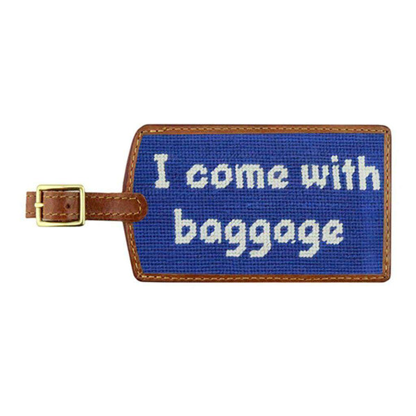 Smathers & Branson Baggage Needlepoint Luggage Tag in Royal