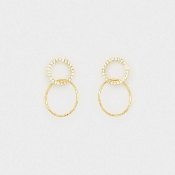 Gorjana Balboa Shimmer Interlocking Studs (White CZ) in Gold by Gorjana