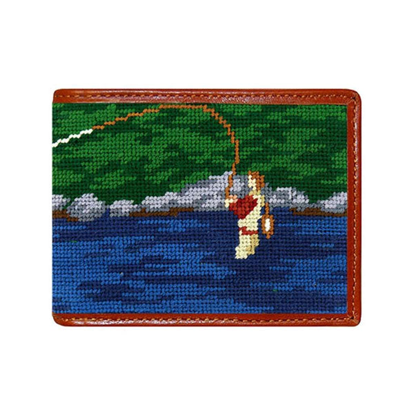 Smathers & Branson Fly Fishing Scene Needlepoint Wallet