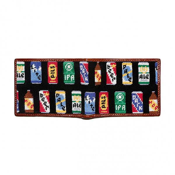 Beer Cans Needlepoint Bi-Fold Wallet in Black by Smathers & Branson