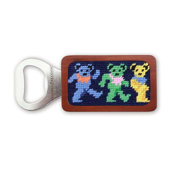 Dancing Bears Needlepoint Bottle Opener in Dark Navy by Smathers & Branson