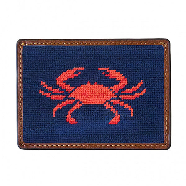 Coral Crab Needlepoint Credit Card Wallet by Smathers & Branson