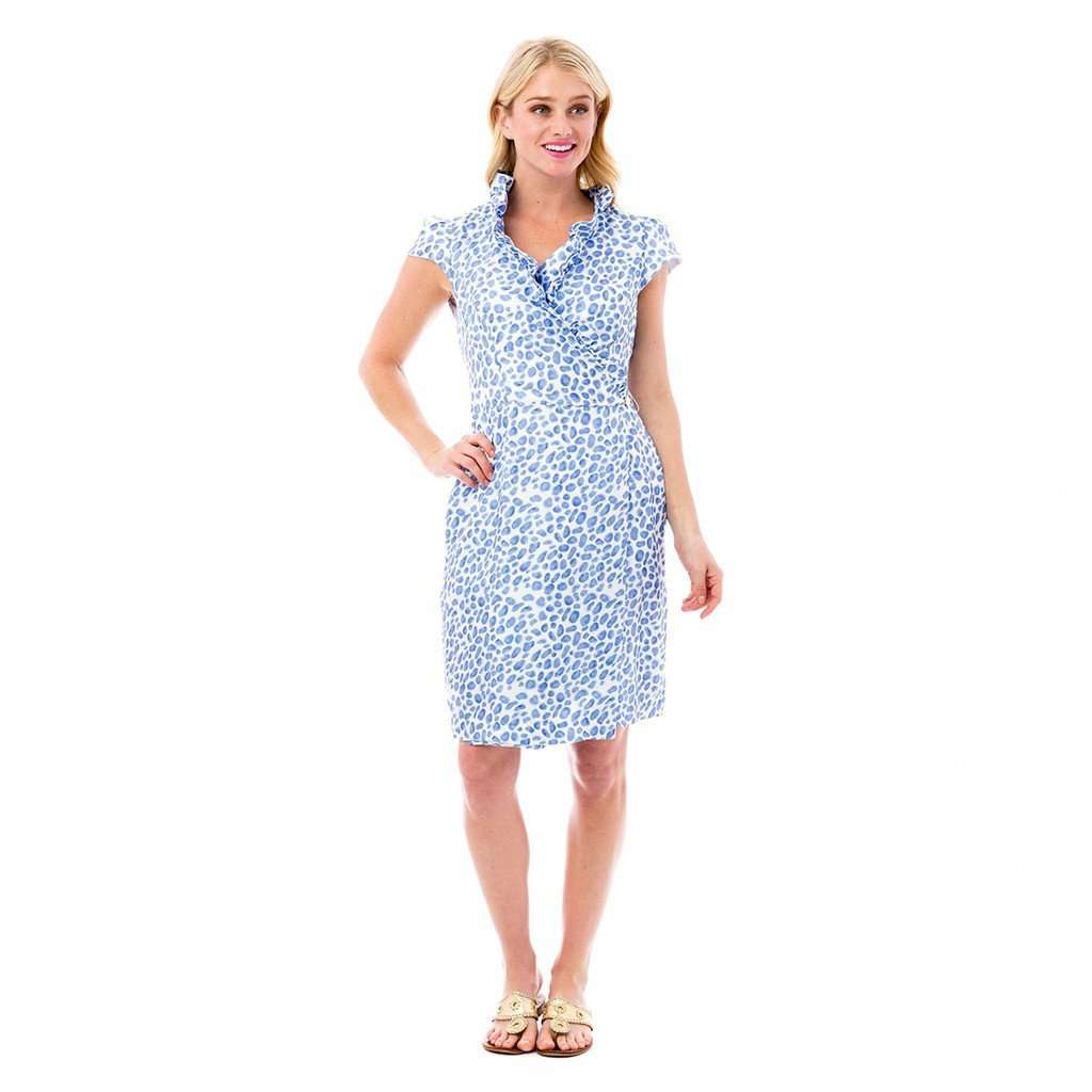 Scotland Wrap Dress in Blue Leopard by Elizabeth McKay  - 1