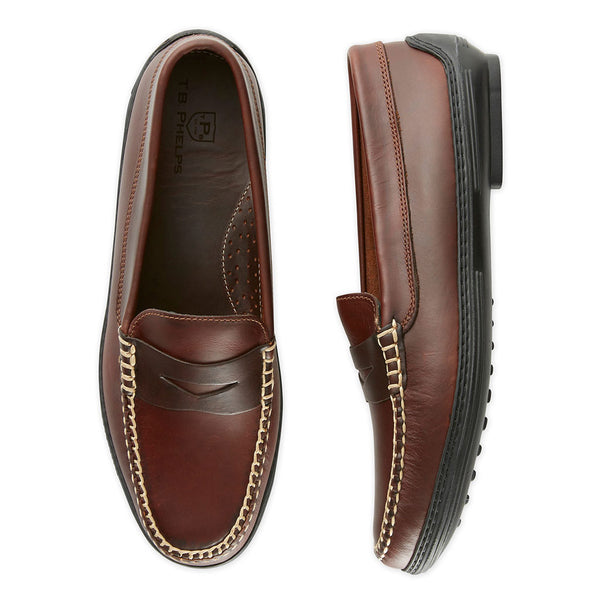 Men's Key West Penny Loafer Driver Shoes in Briar Brown by Country Club Prep