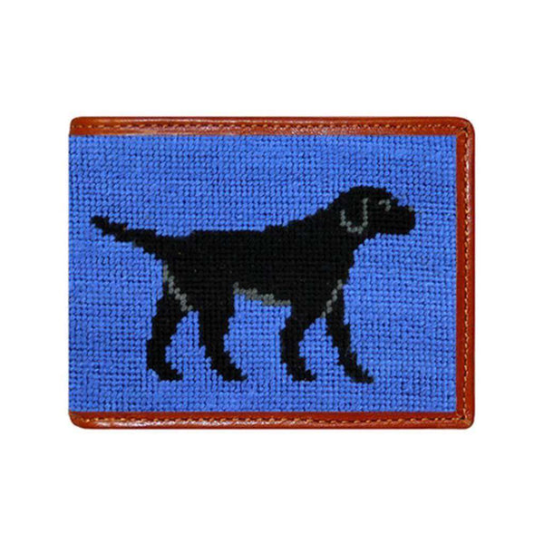 Smathers and Branson Black Lab Needlepoint Bi-Fold Wallet in Navy by Smathers & Branson