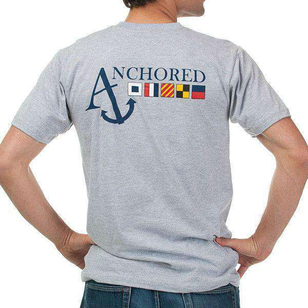 Nautical Flag Pocket Tee Shirt in Grey by Anchored Style  - 1