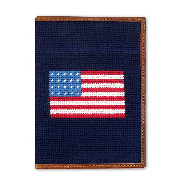American Flag Needlepoint Passport Case by Smathers & Branson
