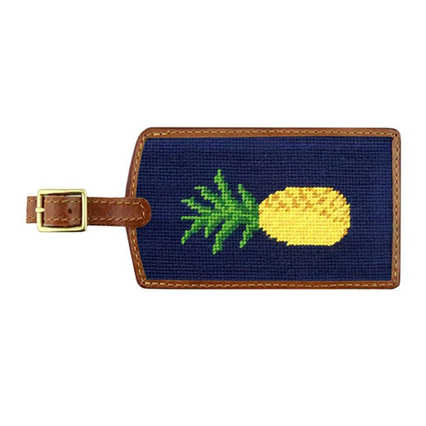 Pineapple Needlepoint Luggage Tag in Dark Navy by Smathers & Branson