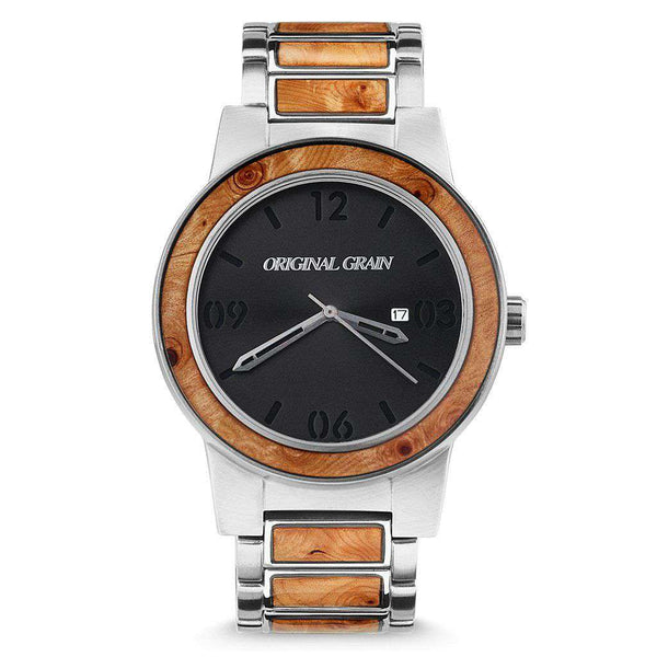 Original Grain Burlwood Silver Watch by Original Grain