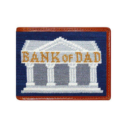 Smathers and Branson Bank of Dad Needlepoint Wallet in Classic Navy by Smathers & Branson