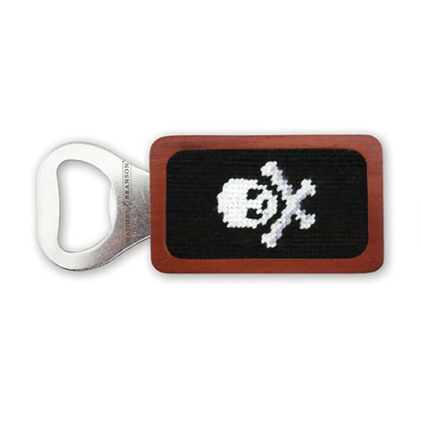 Jolly Roger Needlepoint Bottle Opener in Black by Smathers & Branson