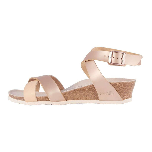 Lola Natural Leather Sandal in Metallic Rose by Birkenstock